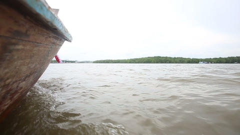 boat floats on the river of mangroves Stock Video Footage