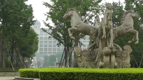 European Style Park Statues Sichuan China 2 Footage