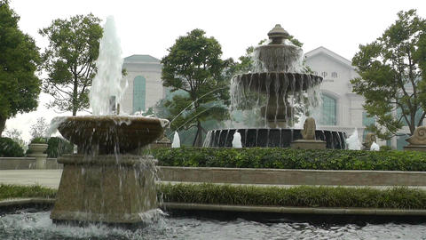 European Style Park Fountain in Sichuan China 4 Stock Video Footage