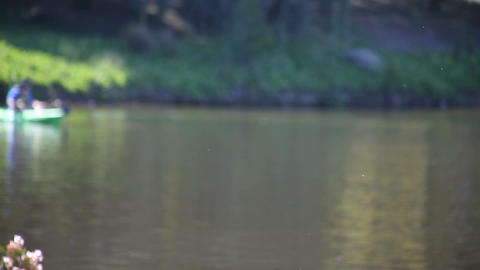 defocused boater drifting Stock Video Footage