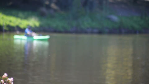 defocused boater drifting Stock Video Footage