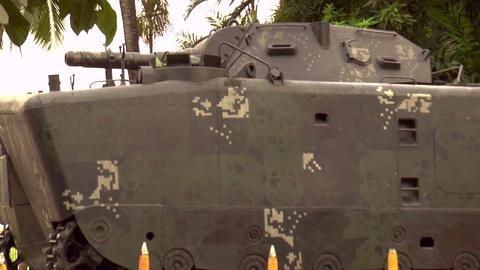 displayed vintage tank Stock Video Footage