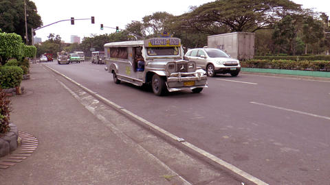 jeepneys at manila street Stock Video Footage
