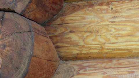 Close-up view of the corners of the cabin log hous Stock Video Footage