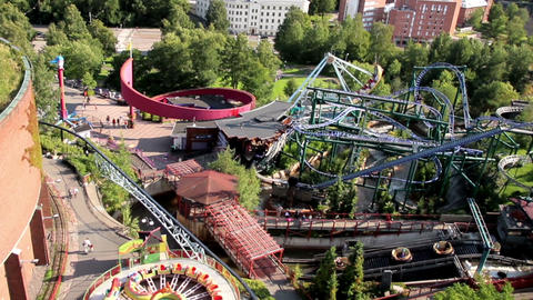 Overhead View Of Fun Rides stock footage