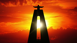 Cristo Rei and Sunrise. Timelapse Footage