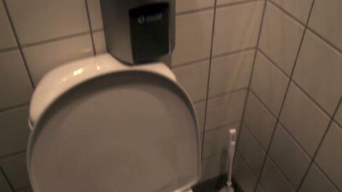 Toilet bowl and its white toilet cleaner Stock Video Footage