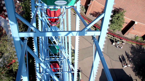 View down in the ground from the ferris wheel ride Footage