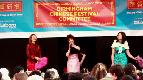 Asian women singing on the stage Stock Video Footage