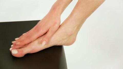 applying cosmetic foot cream, feet moisturizer, sk Footage