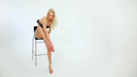 applying cosmetic foot cream, feet moisturizer, sk Stock Video Footage