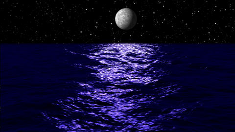 Animation, moon light over sea at night, HD Animation
