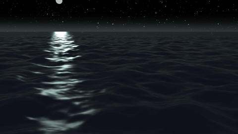 Animation, moon light over ocean at night, HD Animation