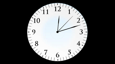 Animation, clock time with seconds, black backgrou Animation