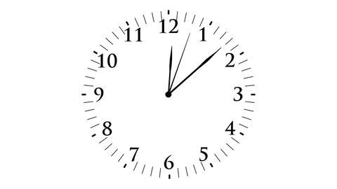 Animation, clock time without seconds, white backg Animation