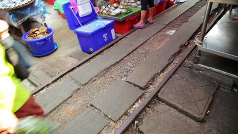 KANCHANABURI, THAILAND - FEBRUARY 2014: Train pass Stock Video Footage