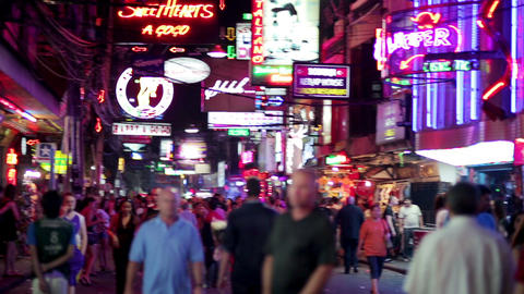 PATTAYA, THAILAND - FEBRUARY 2014: Nightlife with Stock Video Footage
