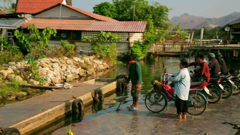 KANCHANABURI, THAILAND - FEBRUARY 2014: Commuter p Footage