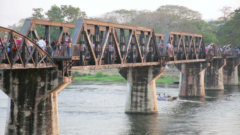 historical train at bridge over kwai river death r Footage