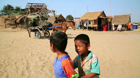 SILK ISLAND, CAMBODIA - MARCH 2014: horse cart tra Stock Video Footage