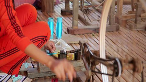 SILK ISLAND, CAMBODIA - MARCH 2014: silk productio Footage