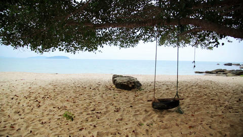 empty swing at beach, sihanoukville, cambodia Stock Video Footage