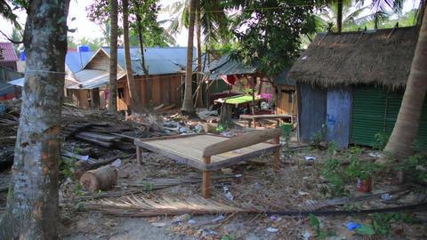 Unusual Billard table on cambodian slums Stock Video Footage