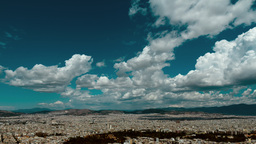4 K Athens Panorama Summer Clouds Timelapse stock footage
