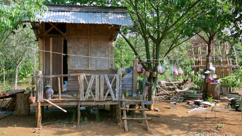 poor lao village houses in rural life, Laos Footage