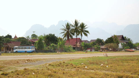 Lao village life around Vang Vieng, Laos Footage