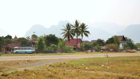 Lao village life around Vang Vieng, Laos Footage