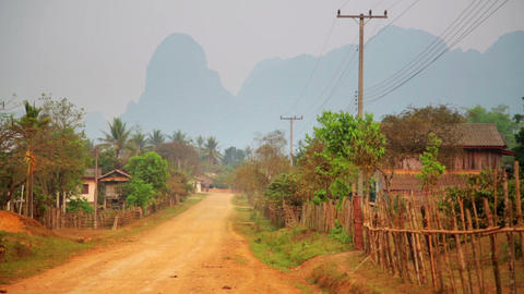 Daily life of Vang Vieng village with limestone mo Footage