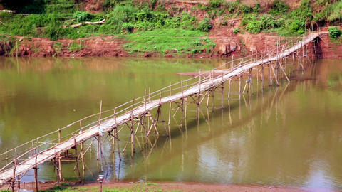 empty bamboo bridge, luang prabang, laos Footage