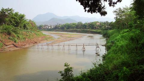 empty bamboo bridge, luang prabang, laos Stock Video Footage