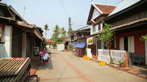 view of easy going relax Luang Prabang streets, La Stock Video Footage
