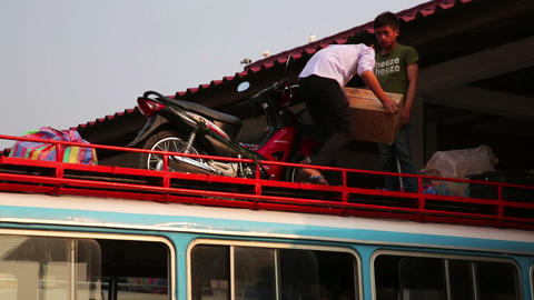 PONGSALI, LAOS - APRIL 2014: Local Bus Station stock footage