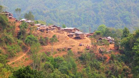 Akha tribe village on mountain, Pongsali, Laos Footage