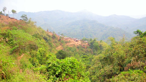 Zoom - Akha Tribe Village On Mountain, Pongsali, L stock footage