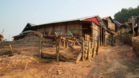 PONGSALI, LAOS - APRIL 2014: tribal Akha village Stock Video Footage