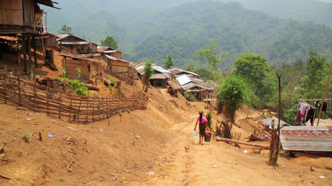 indigenous tribal culture of Akha tribe village, P Stock Video Footage