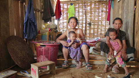 PONGSALI, LAOS - APRIL 2014: Homestay tribal Akha Stock Video Footage