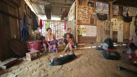 PONGSALI, LAOS - APRIL 2014: Homestay tribal Akha Stock Video Footage