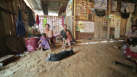 PONGSALI, LAOS - APRIL 2014: Homestay tribal Akha  Footage