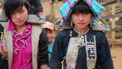 PONGSALI, LAOS - APRIL 2014: indigenous native tri Footage