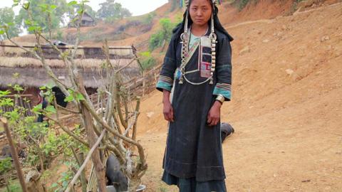 indigenous native tribal people, Akha tribe villag Footage