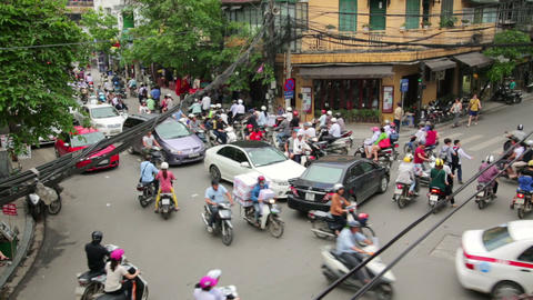 HANOI, VIETNAM - MAY 2014: crazy motorbike traffic Stock Video Footage