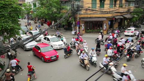 HANOI, VIETNAM - MAY 2014: crazy motorbike traffic Stock Video Footage