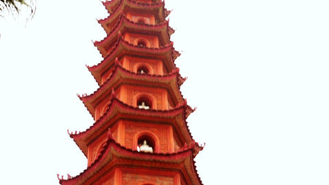 Panning, Hanoi, Vietnam, Tran Quoc Temple Pagoda Stock Video Footage