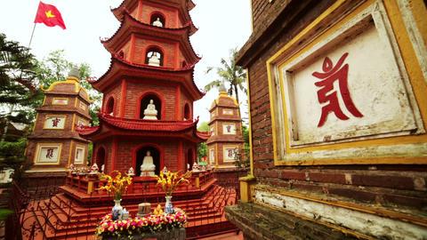 Panning, Hanoi, Vietnam, Tran Quoc Temple Pagoda Footage