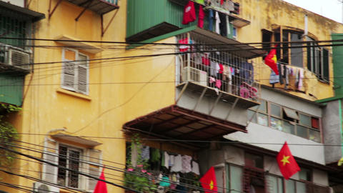 HANOI, VIETNAM - MAY 2014: Slums with messy electr Footage